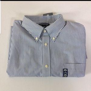 Lands End Navy & White Long Sleeve Dress Shirt XL